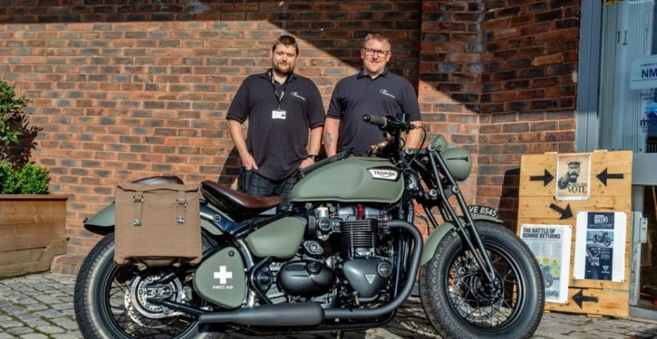 Sam Upton (left) and Tony Crocker (right) with their VE75 custom Triumph