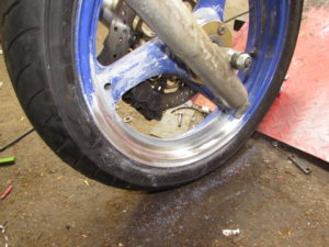 Motorcycle front wheel polishing