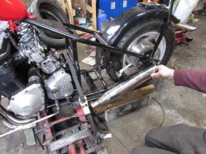 custom bike project build exhaust mock up