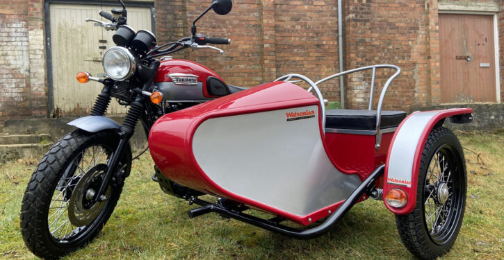 Watsonian have developed a fitting kit to attach their trials-inspired International sidecar to the Triumph Scrambler