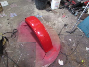 Junkyard Dog custom bike red rear mudguard