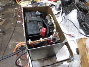 Junkyard custom ammo box battery holder