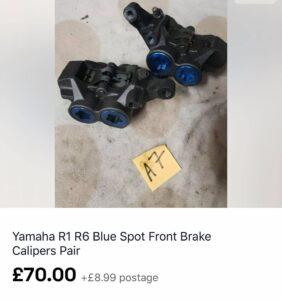 Yamaha R1 R6 Blue Spot Brake Calipers